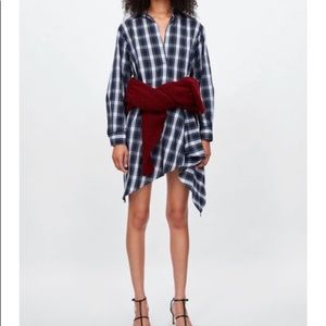NWT Zara | Plaid Asymmetric Tunic/Dress (M)